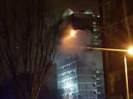 Belfast high rise tower block is engulfed in flames