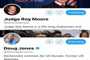 twitter won't verify roy moore's account, but gave blue check to democratic opponent's