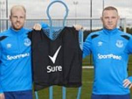everton stars including wayne rooney test goal skills