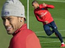 neymar rejoins psg team mates in training and the gym