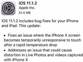 Apple released a software fix for a problem where the iPhone X wouldn't work in cold weather (AAPL)