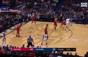WATCH: Good ball movement, strong finish by Anthony Davis with the dunk