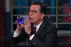 Colbert Has an Awkward Drink of Water in Solidarity With Donald Trump (Video)