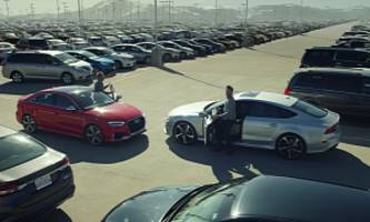 Audi RS3 and RS7 Race for Parking Spots Before Holidays in Commercial