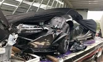mclaren p1 ruined by transport truck crash in cambodia, five injured in accident