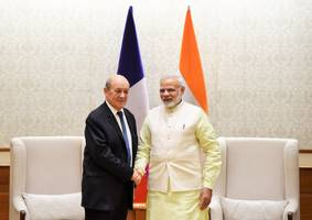 french foreign affairs minister calls on pm modi