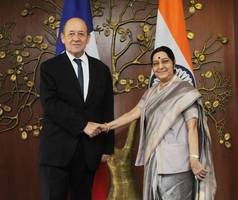French Minister for Europe & Foreign Affairs meets EAM Sushma Swaraj