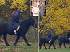 anniversary canter! the queen enjoys horse ride at windsor