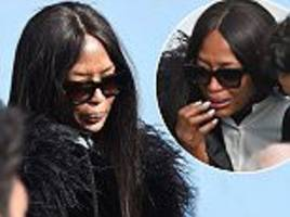 naomi campbell attends the funeral of azzedine alaïa