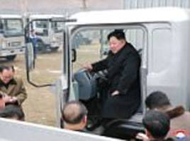 Kim Jong-un poses for photos in a truck like Trump