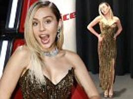 miley cyrus dazzles in plunging dress on the voice