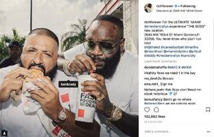 rick ross uses dj khaled's burger-eating moment to get tom brady's attention