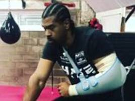 david haye shows off cast on injured arm in workout video