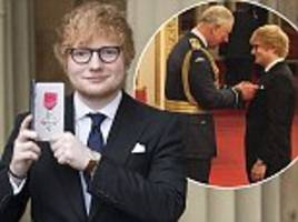 Ed Sheeran is honoured with an MBE at Buckingham Palace