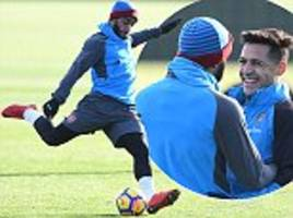 Arsenal train ahead of Premier League clash with Newcastle