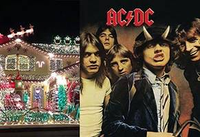 awesome light display set to 'thunderstruck' by ac/dc