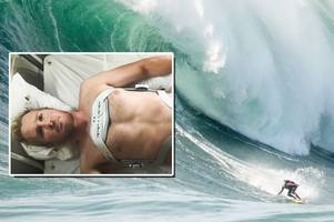 devon big wave surfer andrew cotton vows to ride again in 2018 after breaking his back in monster wipeout