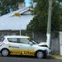 more lessons? aa driving school car pictured crashed into power pole