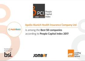 india's first people capital index awards apollo munich health insurance for being in india's best 50 on talent satisfaction