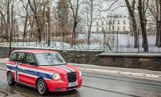 electric black cab turns red, white and blue for norway
