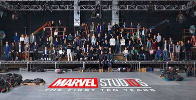 marvel stars and filmmakers assemble for mega 10th anniversary photo (video)