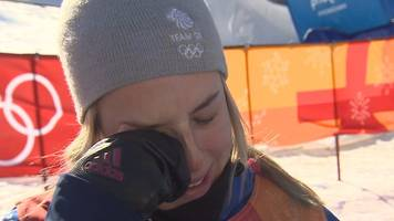 winter olympics: katie summerhayes gives tearful interview after slopestyle