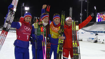 winter olympics: norway pip sweden to relay gold in cross-country skiing
