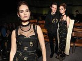 lily james cosies up to matt smith at burberry lfw show
