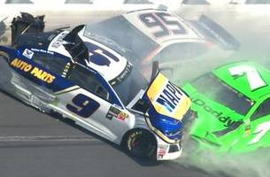danica patrick's nascar career ends in violent crash that collects chase elliott as well   2018 daytona 500
