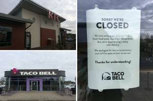 kfc and taco bell hope to receive a delivery today after closing on sunday
