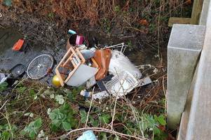 from an audrey hepburn purse to a child's chair - residents furious as rubbish dumped in stream