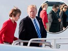 barron trump goes to airport in his own secret service car
