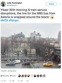 these images of a ridiculous bus line caused by nyc subway delays show just miserable the state of public transit has become