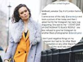 model denies racism accusation after photographer's post