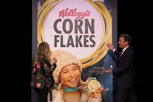 chloe kim finding out about her corn flakes box cover is exactly as adorable as you'd think (video)