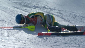 Winter Olympics: South African athlete Connor Wilson tumbles in the slalom