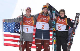 american david wise repeats olympic halfpipe skiing gold - teammate alex ferreira secures silver, and young nico porteous from new zealand wins bronze.