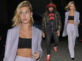 hailey baldwin enjoys cosy dinner with lewis hamilton