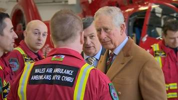 prince charles meets wales air ambulance staff and patients