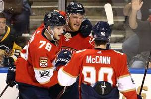 panthers, dadonov hold on for wild win over the penguins