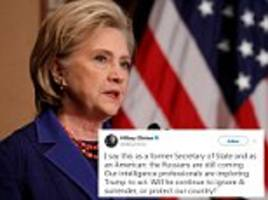 hillary claims the russians are still coming on twitter
