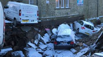 cars fall into beck after skipton bridge collapse