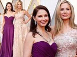 ashley judd and mira sorvino join forces on the oscars red carpet