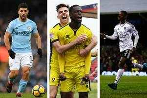 cheltenham town striker mo eisa level with manchester city's sergio aguero and ryan sessegnon of fulham at top of 2018 scoring charts