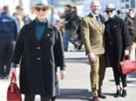Zara Tindall displays her blossoming bump at Cheltenham Festival