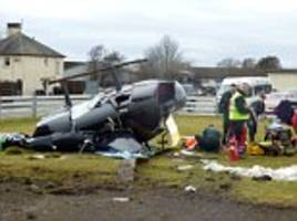 helicopter crashes at perth airport in scotland