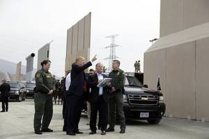 trump touts border wall, idea for space force during california visit