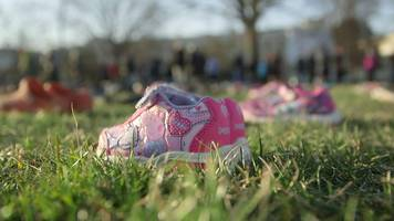 Shoes laid outside the US Capitol in Washington represent young victims of gun violence.