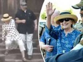 hillary sprains her hand after falling twice on stairs in india