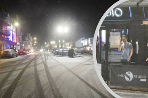 'forget -10c and gales, its saturday night!' cleethorpes drinker in a t-shirt braves siberian weather outside studio bar